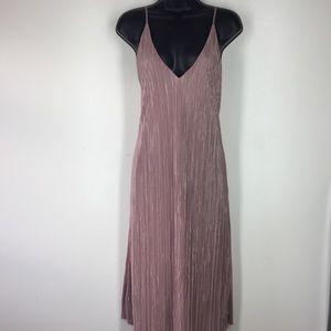 Metallic Dusty Rose Accordion Dress!